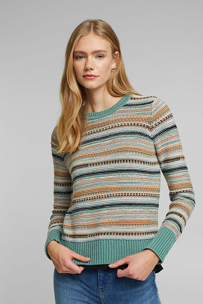 Textured jumper containing organic cotton, DUSTY GREEN, detail image number 0