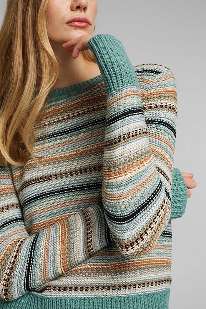 Textured jumper containing organic cotton, DUSTY GREEN, detail image number 2