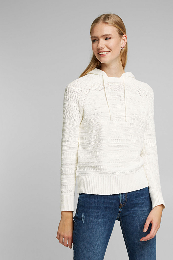 Hooded jumper with texture, OFF WHITE, detail image number 0