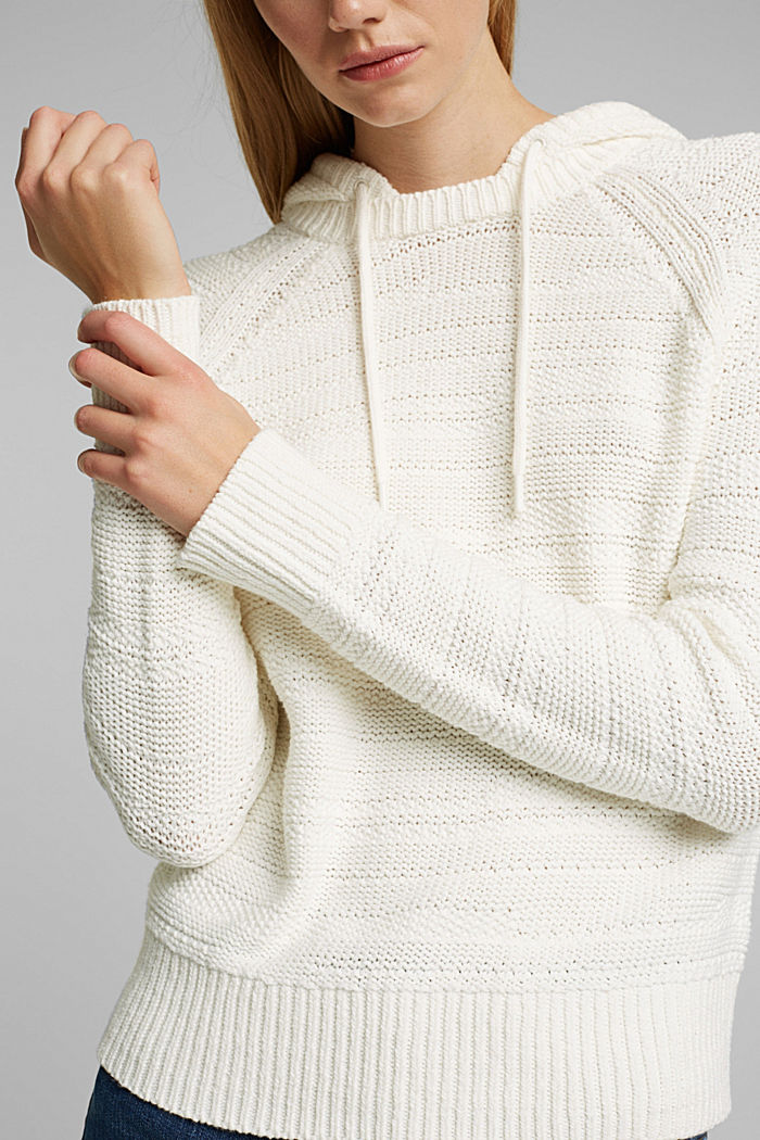 Hooded jumper with texture, OFF WHITE, detail image number 2