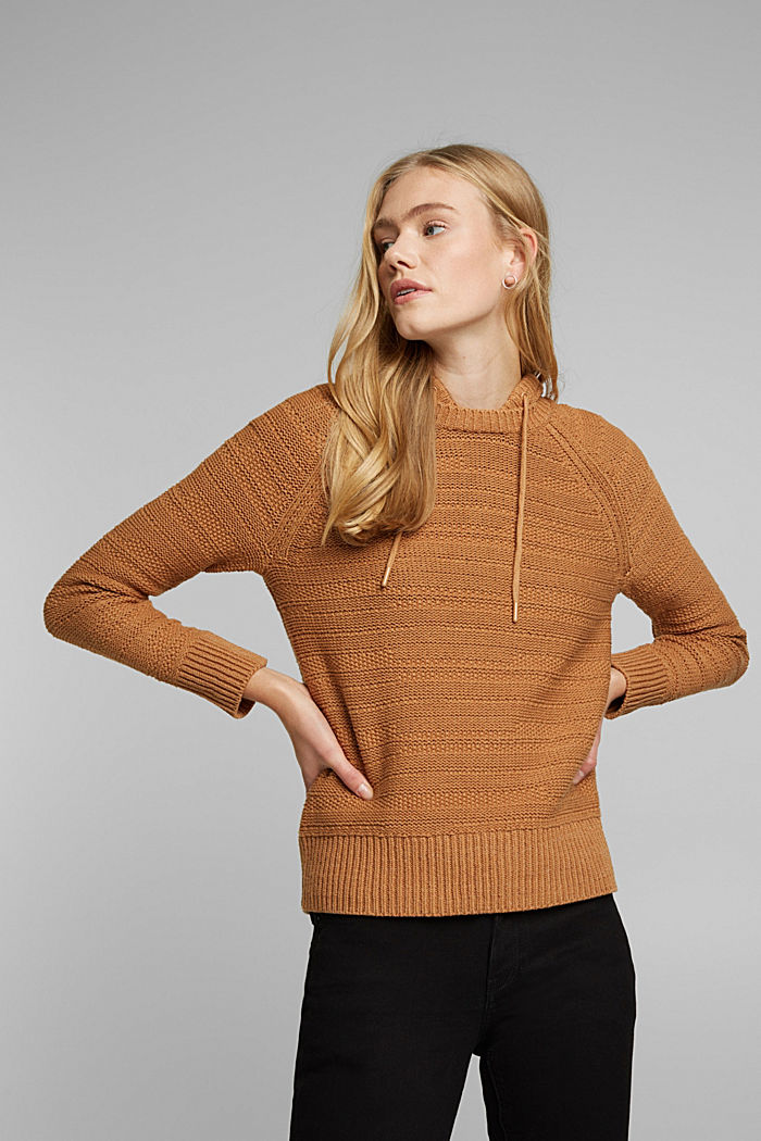 Hooded jumper with texture, CARAMEL, detail image number 0