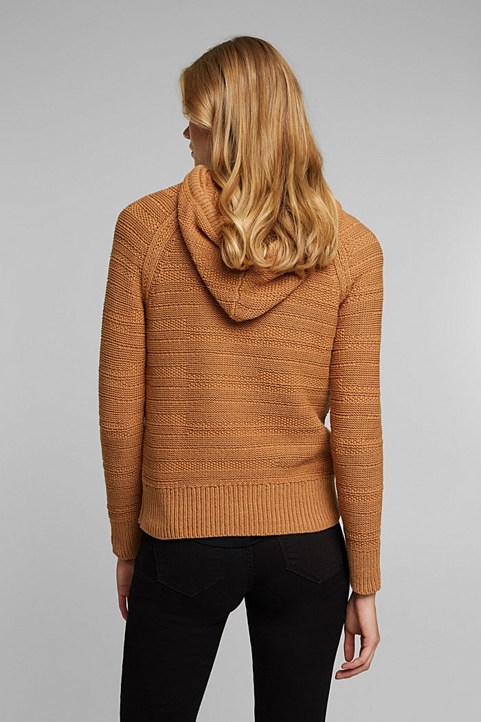 Hooded jumper with texture, CARAMEL, detail image number 3