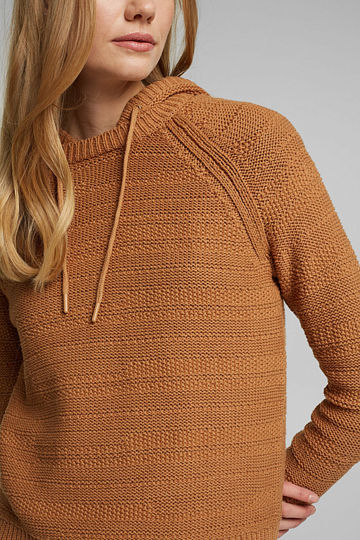 Hooded jumper with texture, CARAMEL, detail image number 2
