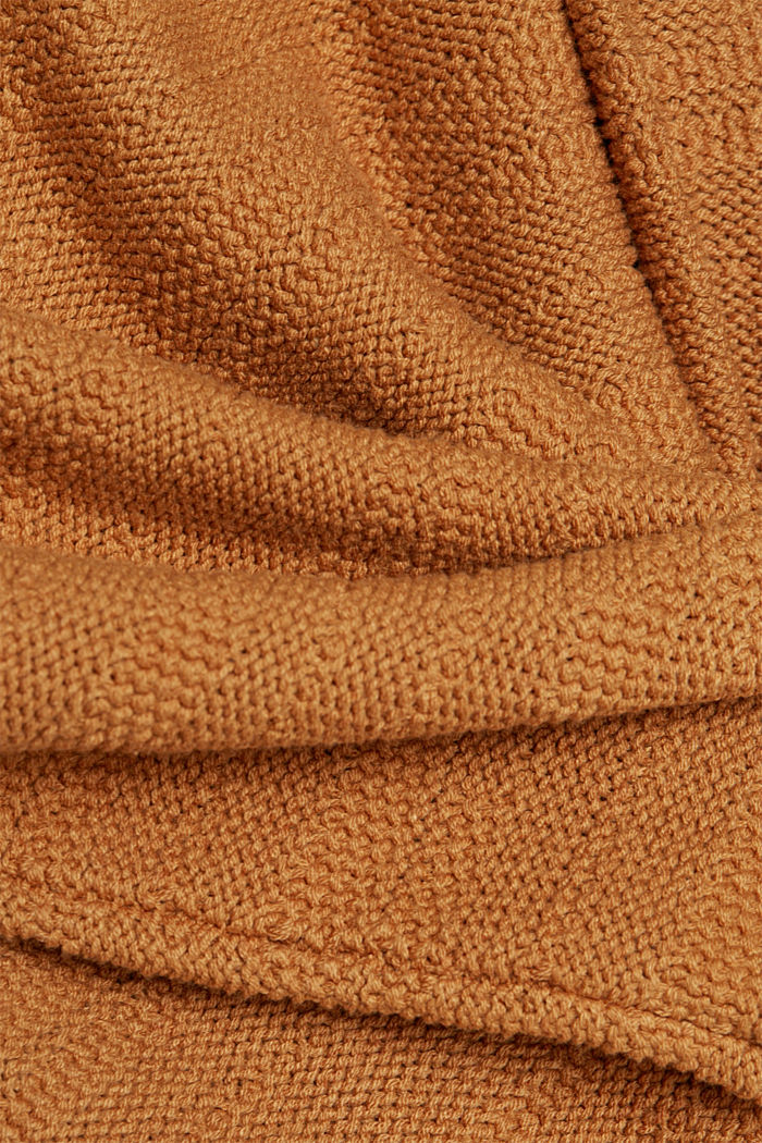 Hooded jumper with texture, CARAMEL, detail image number 4