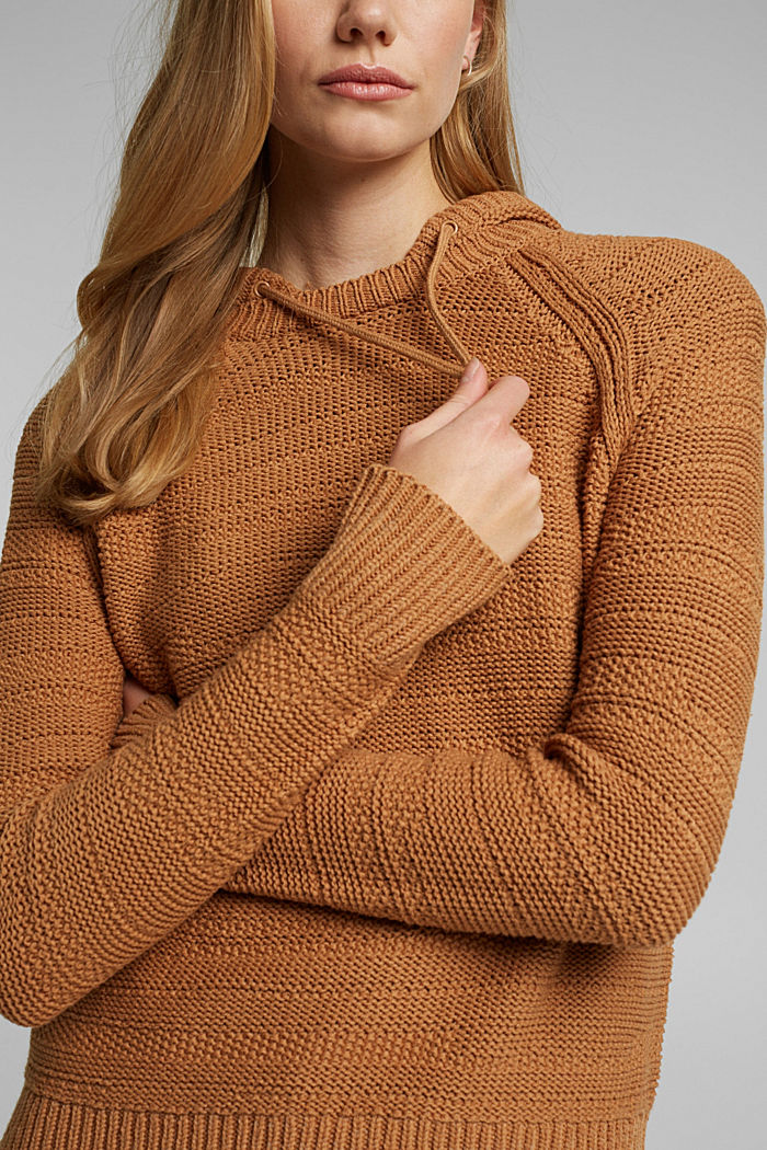 Hooded jumper with texture, CARAMEL, detail image number 5