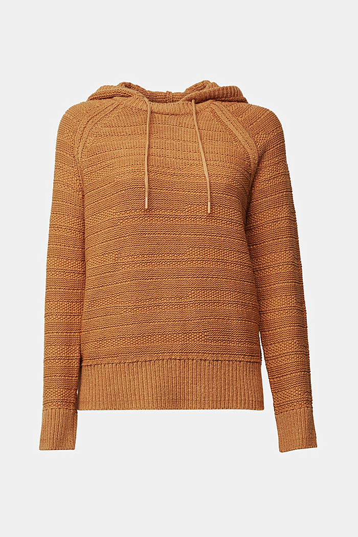 Hooded jumper with texture, CARAMEL, detail image number 6