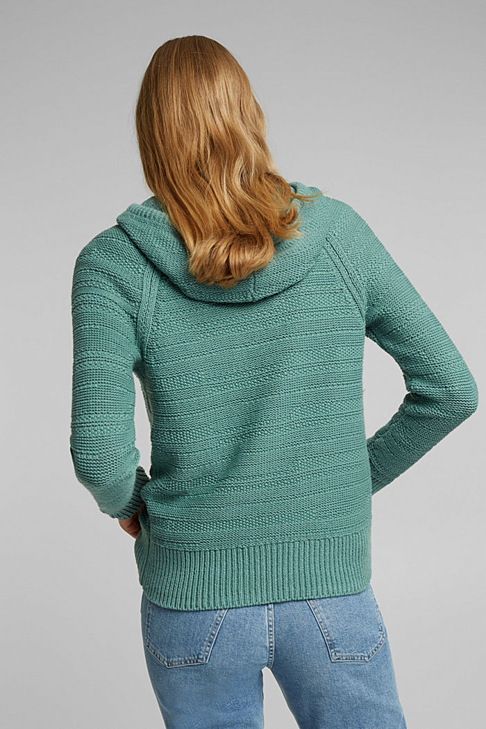 Hooded jumper with texture, DUSTY GREEN, detail image number 3