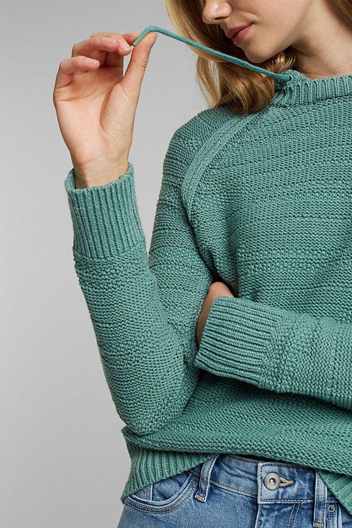 Hooded jumper with texture, DUSTY GREEN, detail image number 2