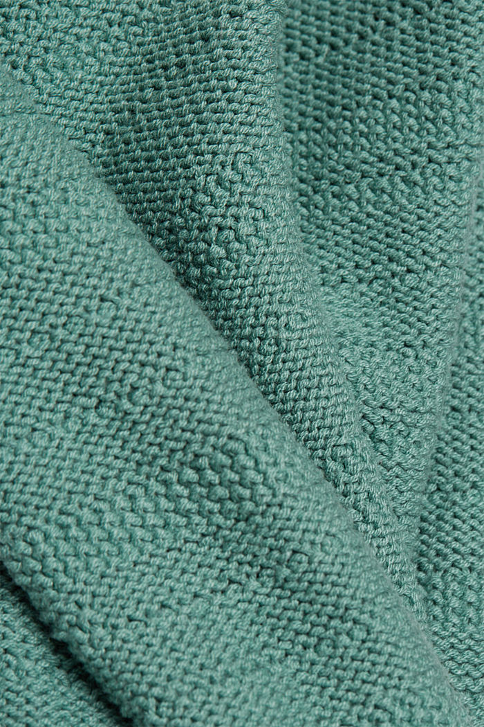 Hooded jumper with texture, DUSTY GREEN, detail image number 4