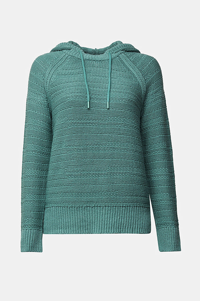 Kapuzen-Pullover mit Struktur, DUSTY GREEN, overview