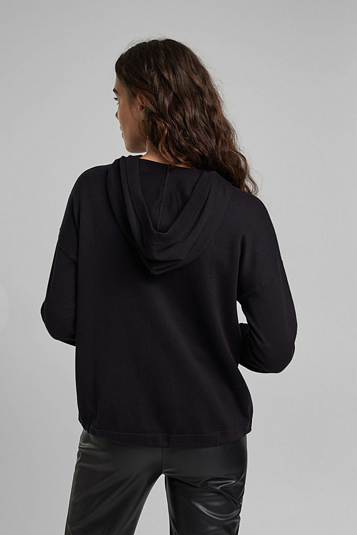 Hooded cardigan made of organic cotton, BLACK, detail image number 3