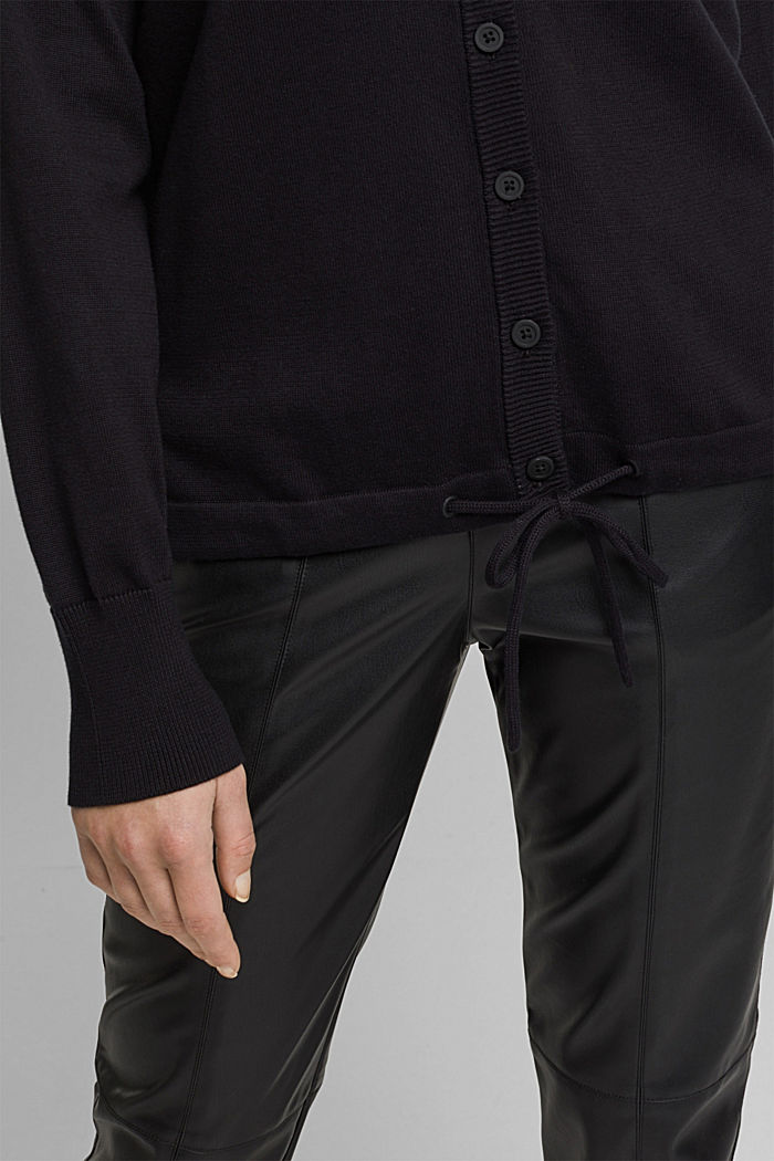 Hooded cardigan made of organic cotton, BLACK, detail image number 2