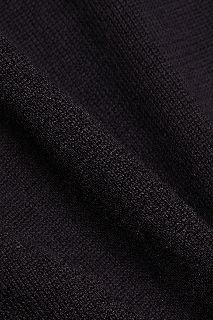 Hooded cardigan made of organic cotton, BLACK, detail image number 4