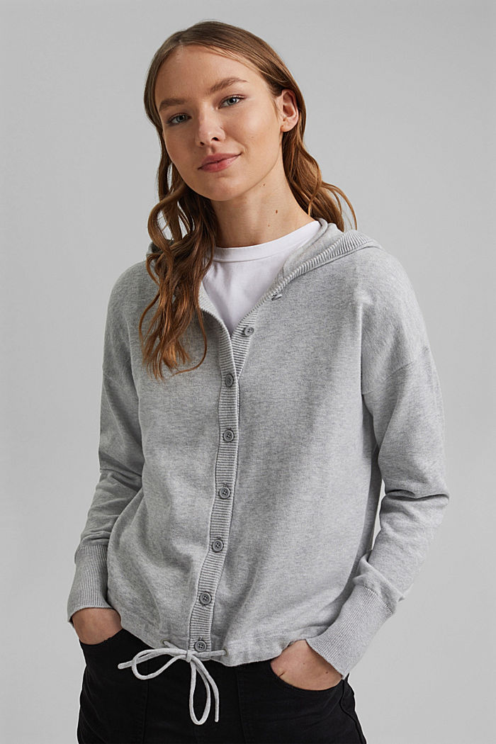 Hooded cardigan made of organic cotton, LIGHT GREY, detail image number 0