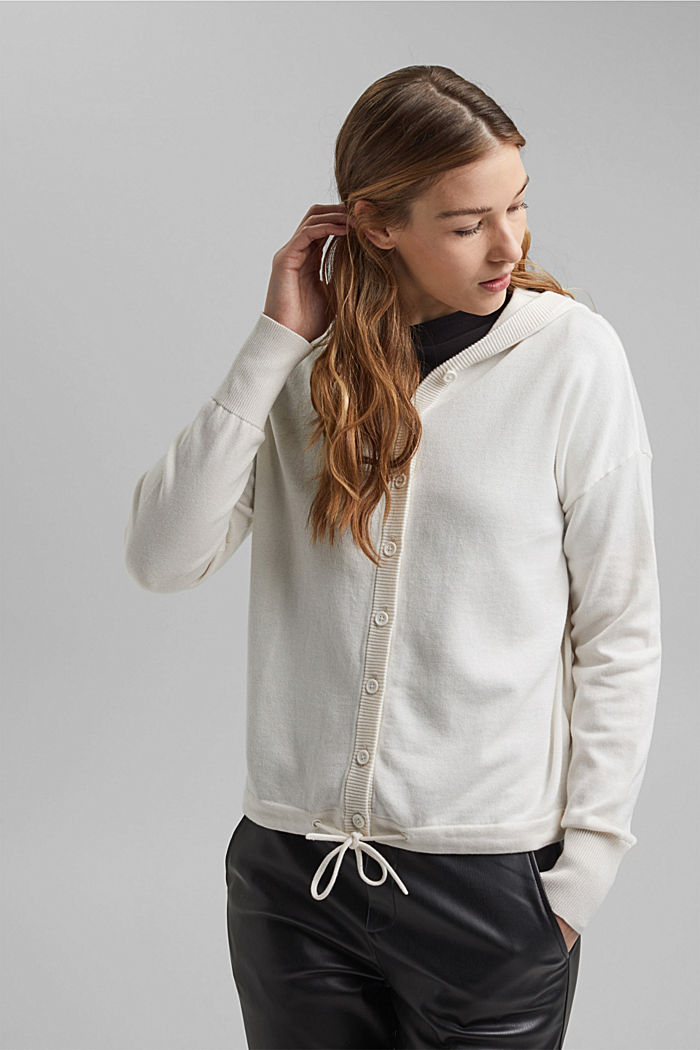Hooded cardigan made of organic cotton, OFF WHITE, detail image number 0