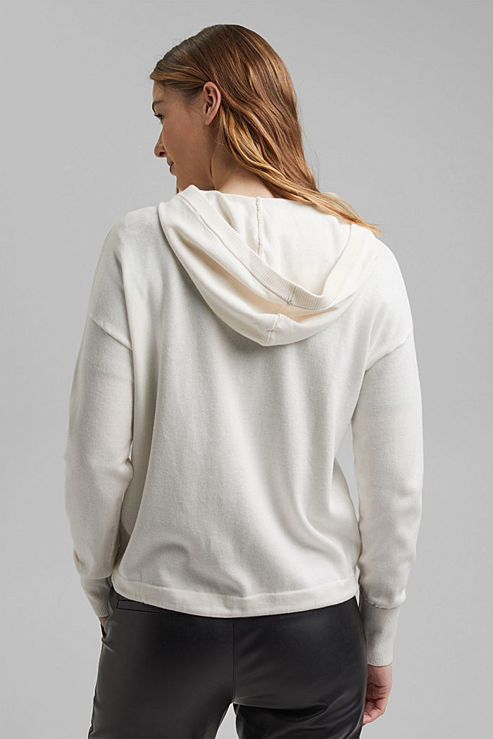 Hooded cardigan made of organic cotton, OFF WHITE, detail image number 3