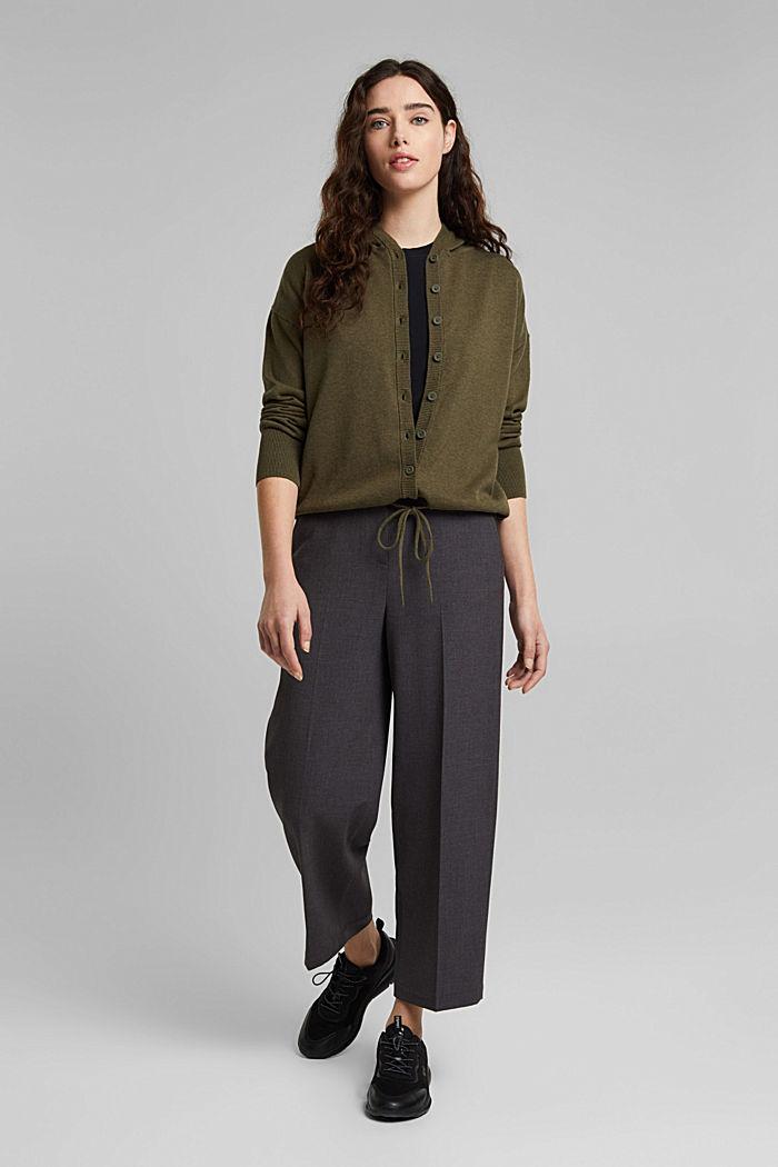 Hooded cardigan made of organic cotton, KHAKI GREEN, detail image number 1