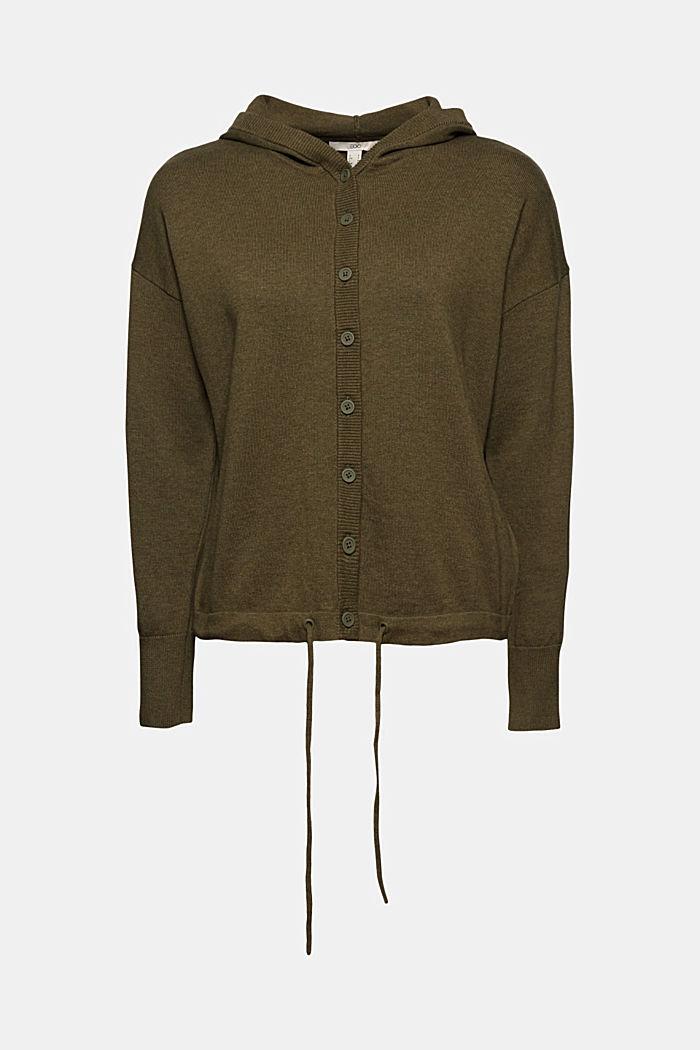 Hooded cardigan made of organic cotton, KHAKI GREEN, detail image number 5