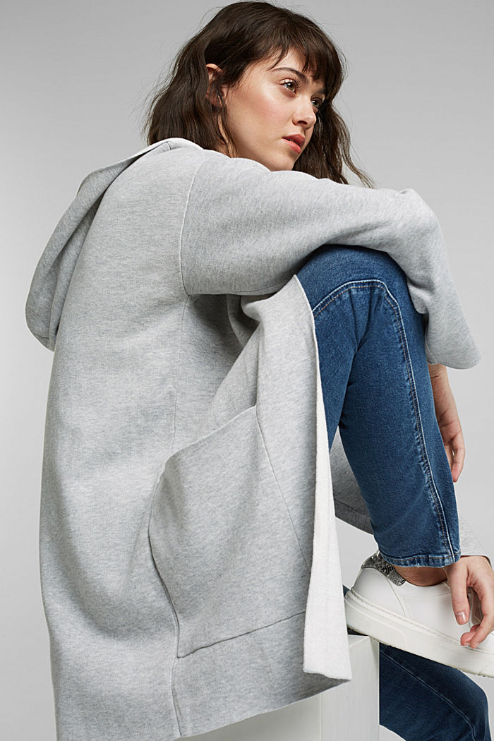 Double-faced cardigan with a hood, LIGHT GREY, detail image number 5