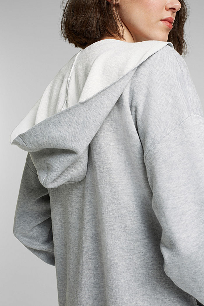 Double-faced cardigan with a hood, LIGHT GREY, detail image number 2