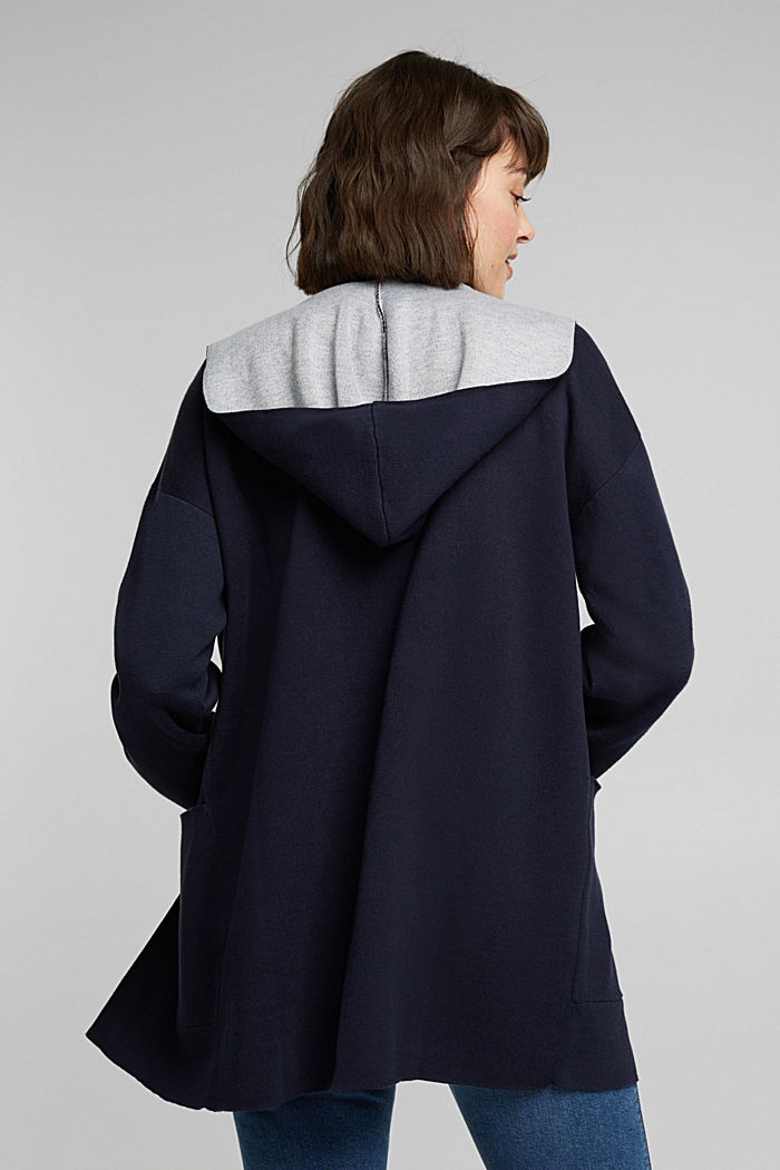 Double-faced cardigan with a hood, NAVY, detail image number 3