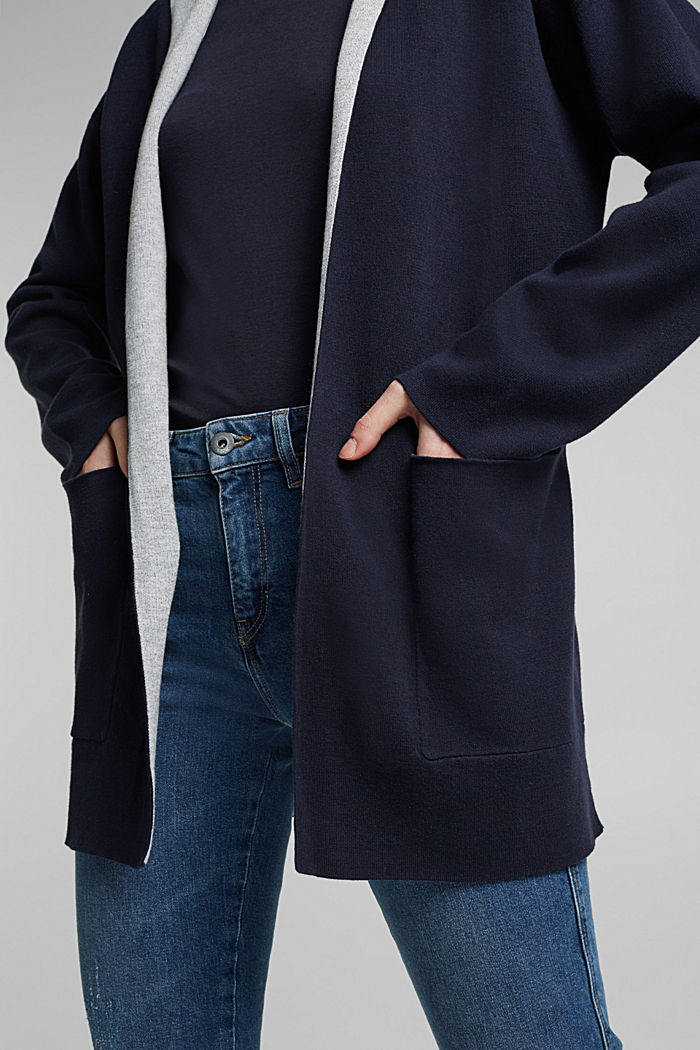 Double-faced cardigan with a hood, NAVY, detail image number 2