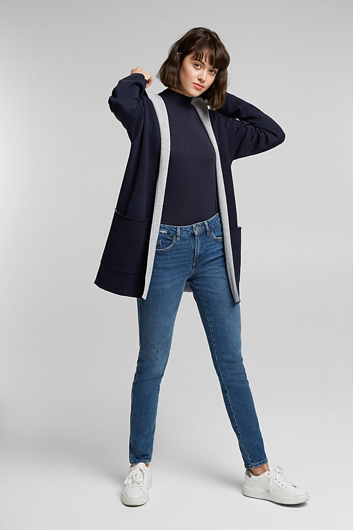 Double-faced cardigan with a hood, NAVY, detail image number 6