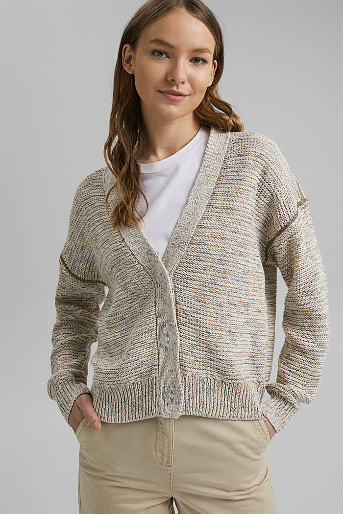 Mouliné cardigan with contrasting stitching, OFF WHITE, detail image number 0