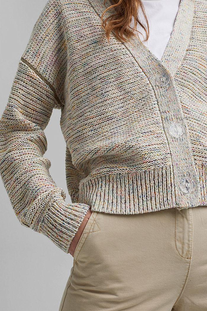 Mouliné cardigan with contrasting stitching, OFF WHITE, detail image number 4