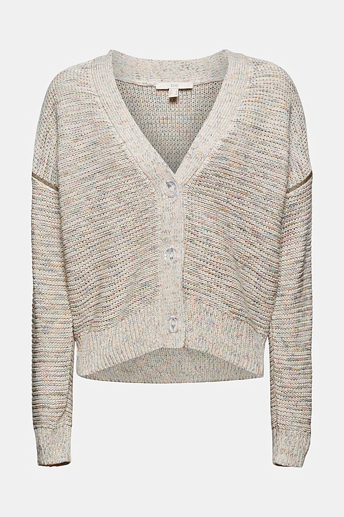 Mouliné cardigan with contrasting stitching, OFF WHITE, detail image number 5