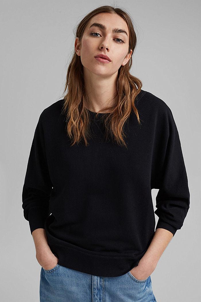 Sweatshirt-Pullover, 100% Organic Cotton, BLACK, detail image number 0