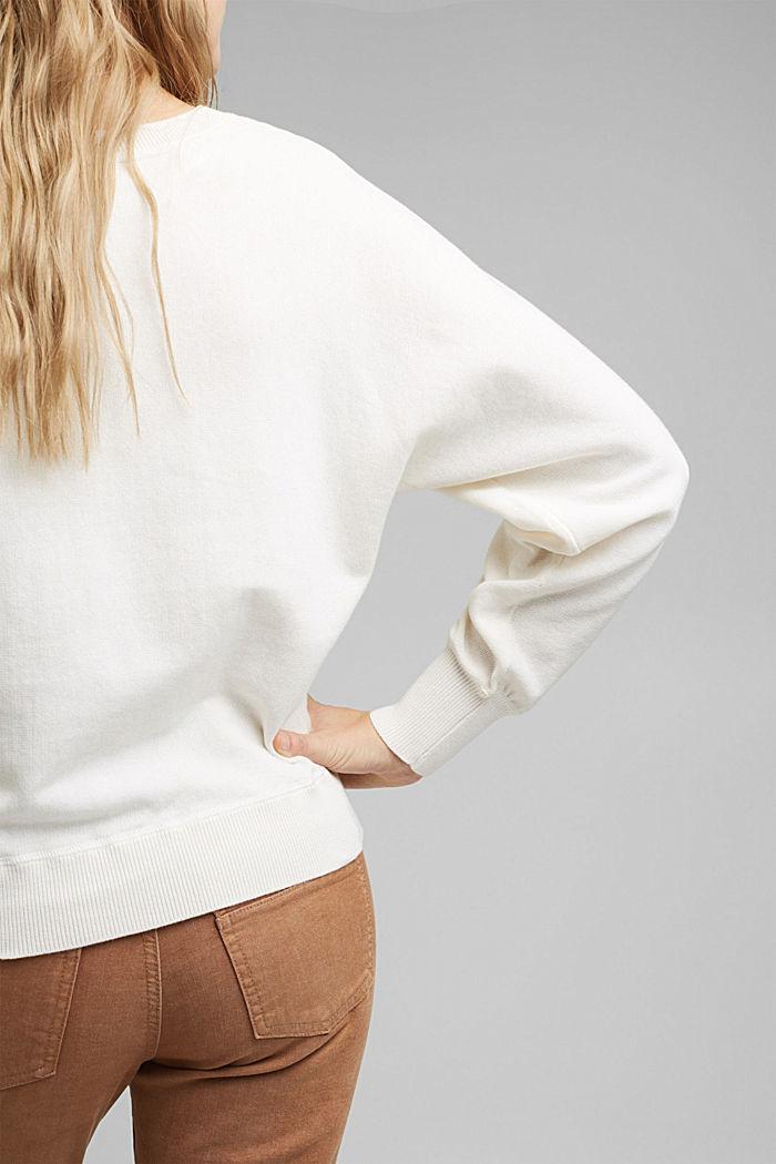 Sweatshirt jumper, 100% organic cotton, OFF WHITE, detail image number 2