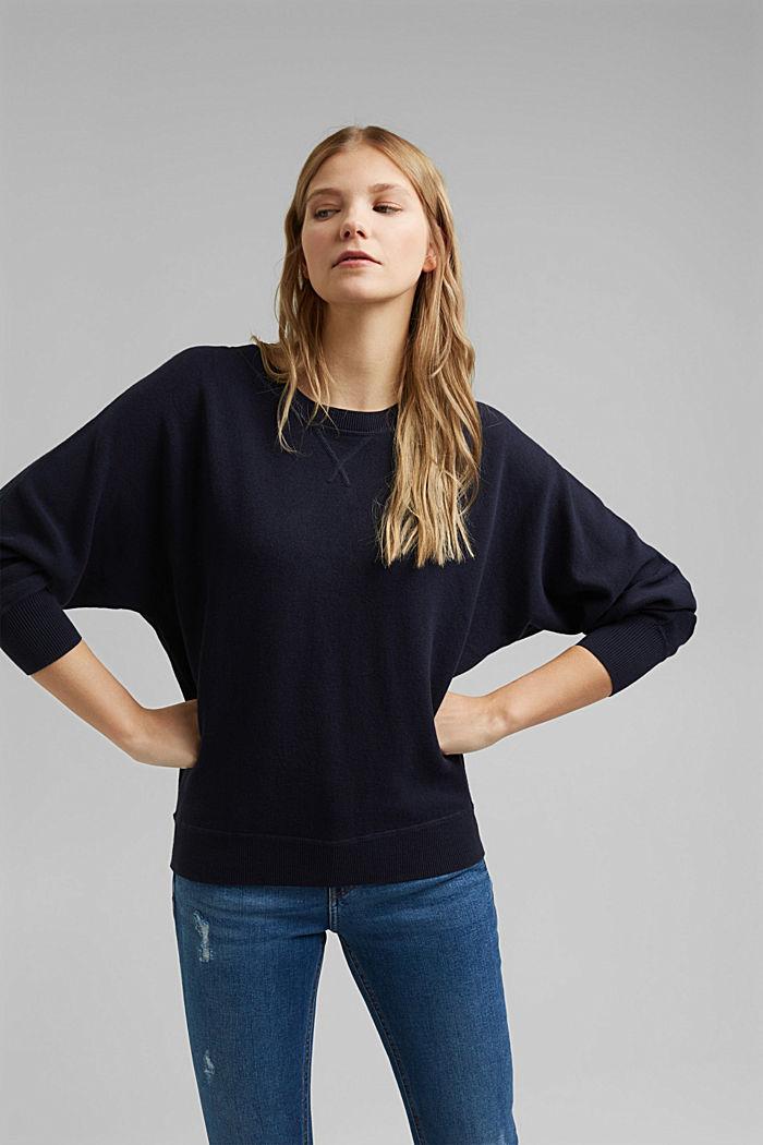 Sweatshirt jumper, 100% organic cotton, NAVY, detail image number 0