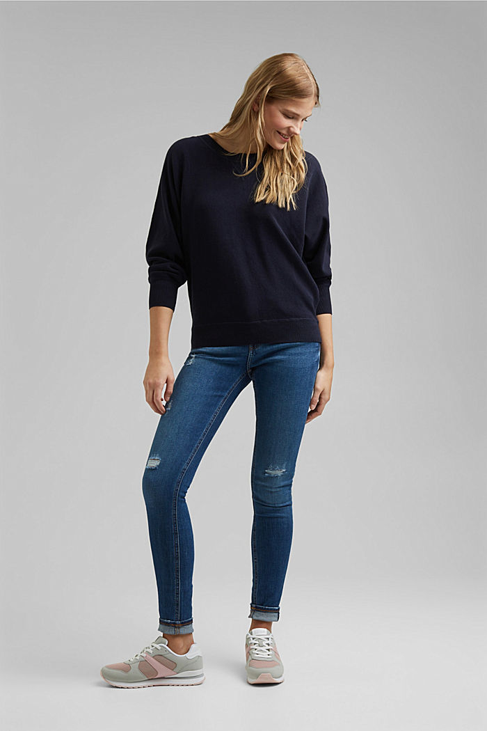 Sweatshirt jumper, 100% organic cotton, NAVY, detail image number 5
