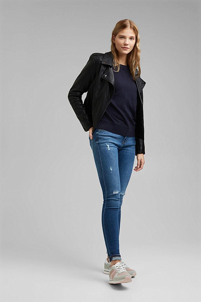 Sweatshirt jumper, 100% organic cotton, NAVY, detail image number 1