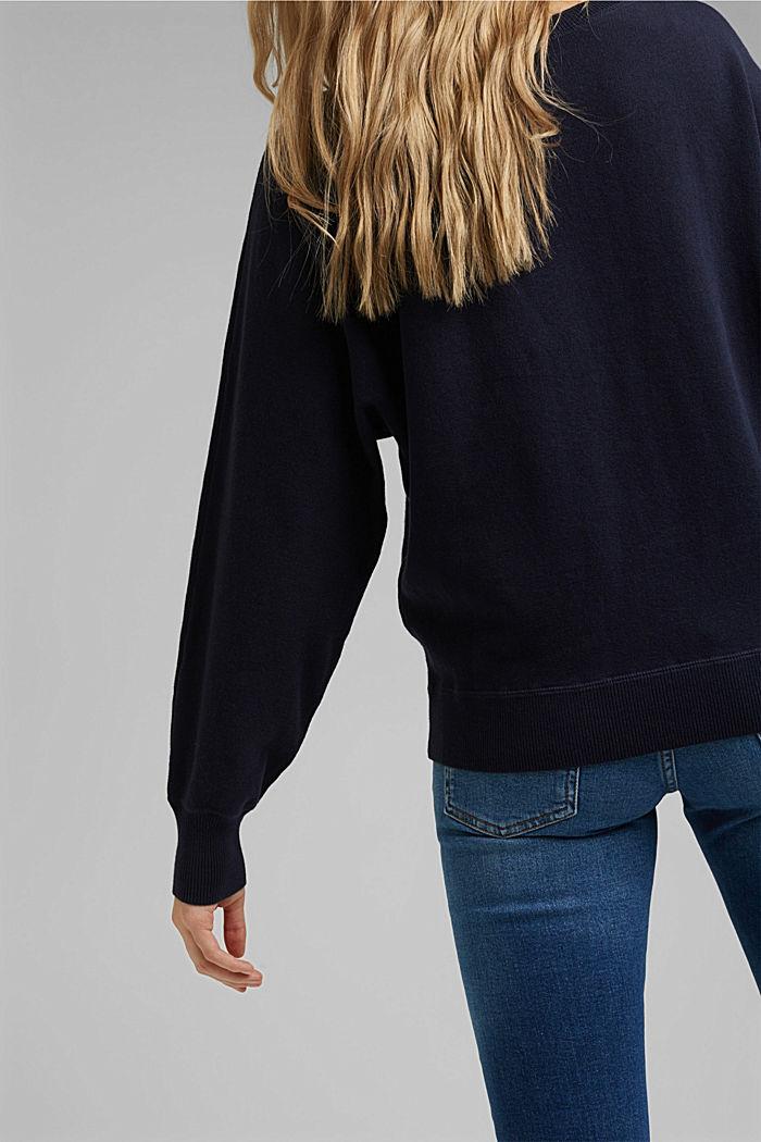 Sweatshirt jumper, 100% organic cotton, NAVY, detail image number 2