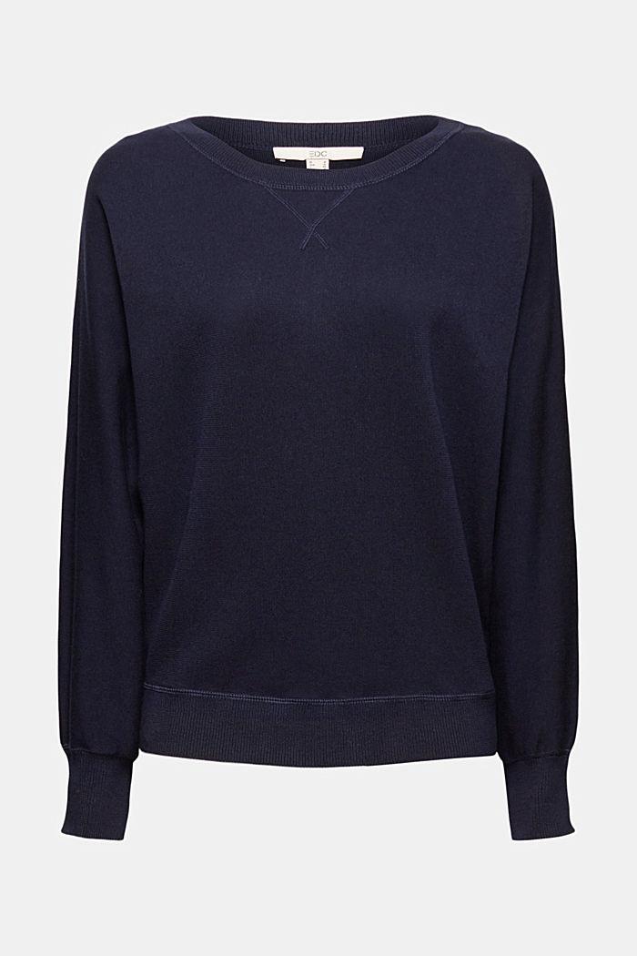 Sweatshirt jumper, 100% organic cotton, NAVY, detail image number 6