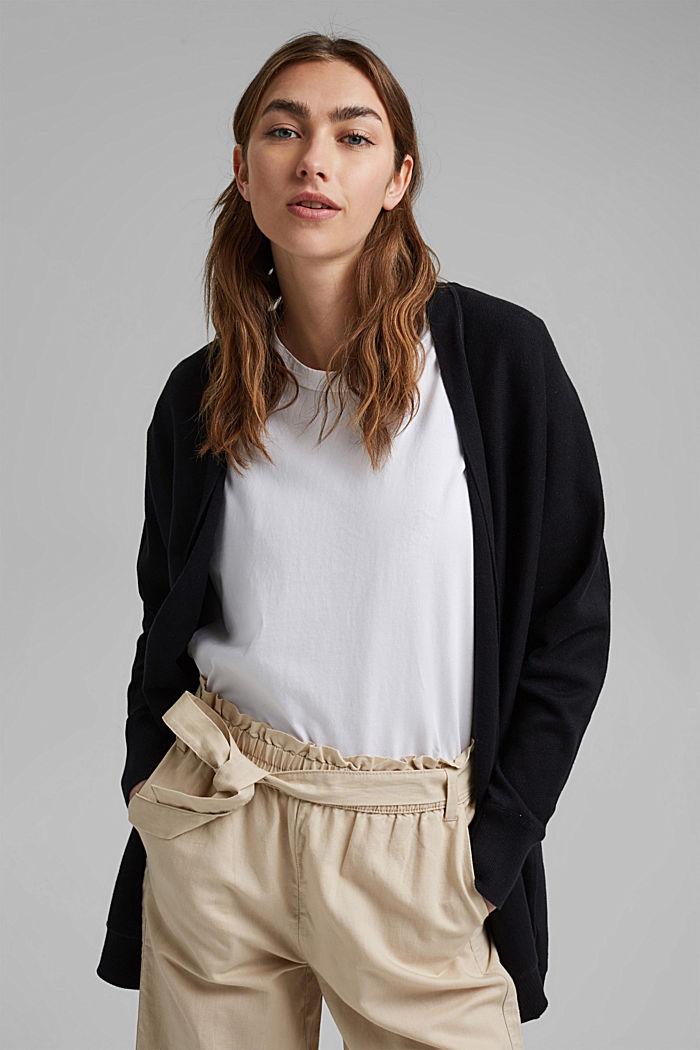 Offener Cardigan aus 100% Organic Cotton, BLACK, detail image number 0