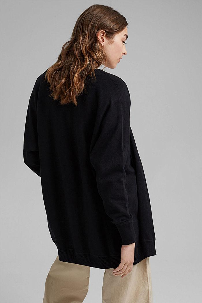 Offener Cardigan aus 100% Organic Cotton, BLACK, detail image number 3