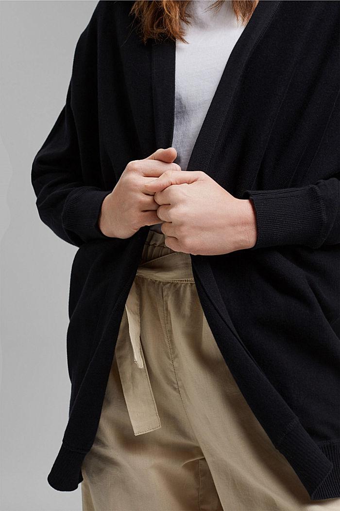 Offener Cardigan aus 100% Organic Cotton, BLACK, detail image number 2