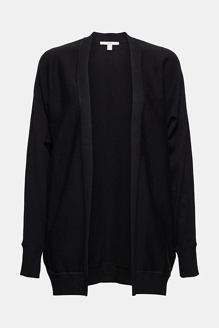 Offener Cardigan aus 100% Organic Cotton, BLACK, detail image number 5