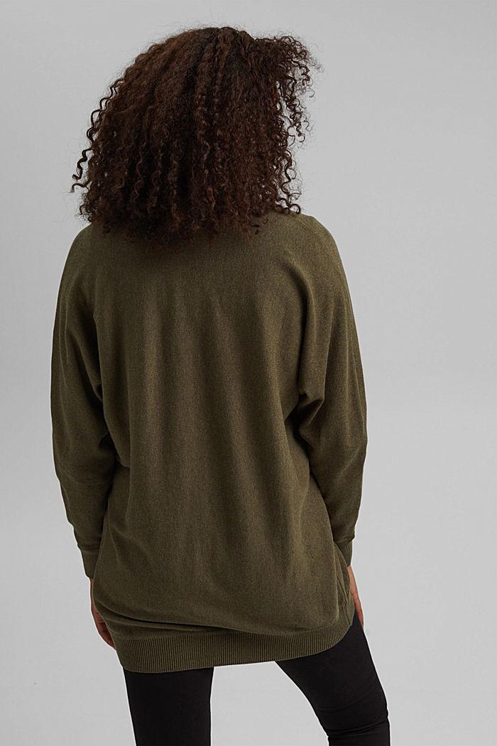 Open cardigan made of 100% organic cotton, DARK KHAKI, detail image number 3