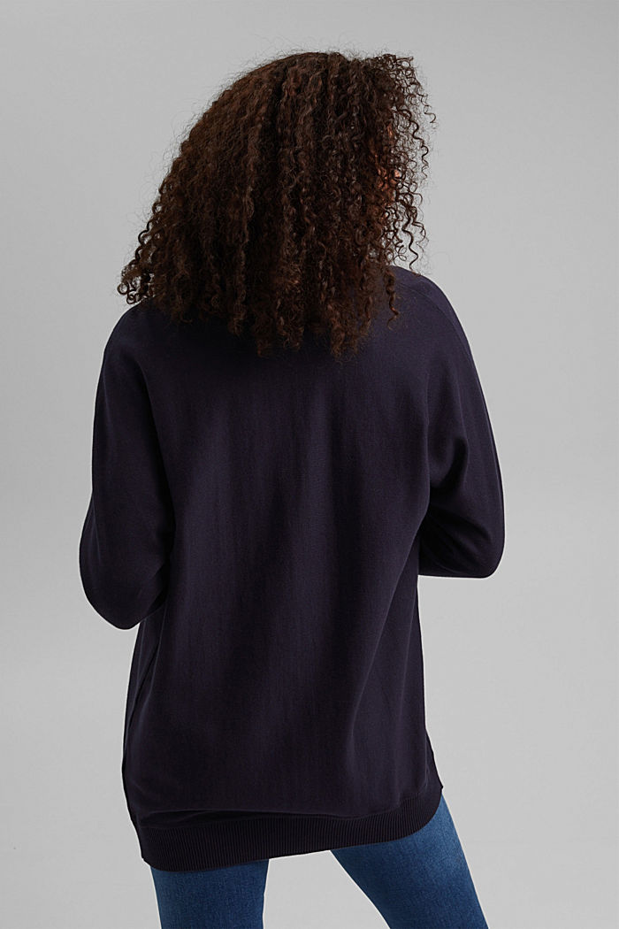 Open cardigan made of 100% organic cotton, NAVY, detail image number 3