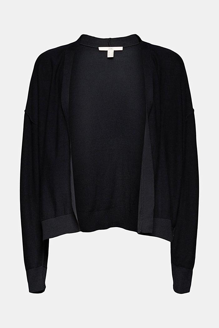 Open cardigan made of 100% organic cotton, BLACK, detail image number 6