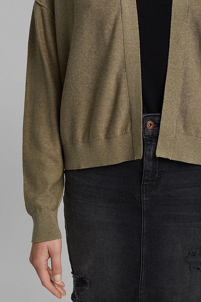 Offener Cardigan aus 100% Bio-Baumwolle, LIGHT KHAKI, detail image number 2
