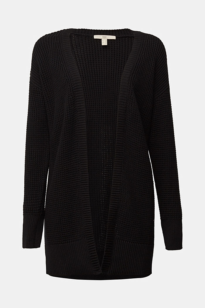 Long cardigan made of 100% organic cotton, BLACK, detail image number 5