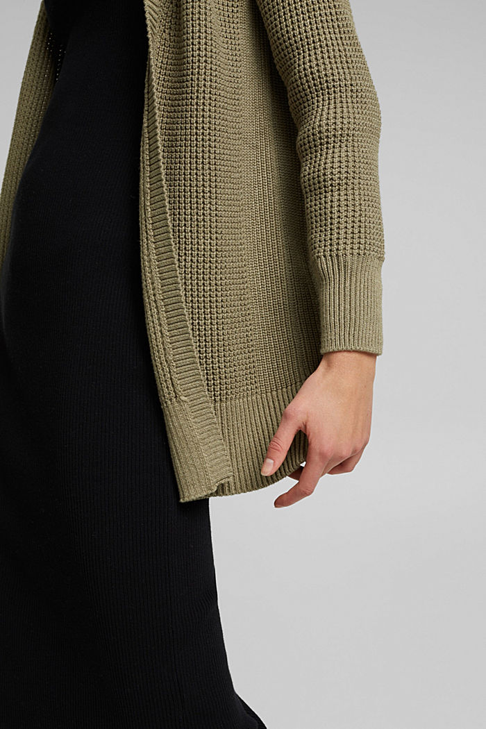 Long cardigan made of 100% organic cotton, LIGHT KHAKI, detail image number 2