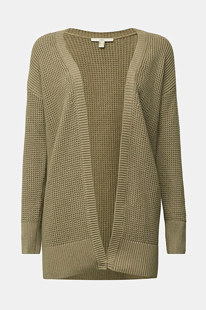 Long cardigan made of 100% organic cotton, LIGHT KHAKI, detail image number 5