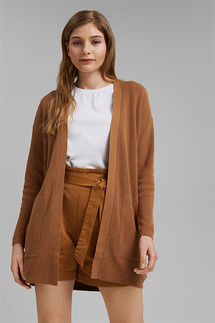 Long cardigan made of 100% organic cotton, CARAMEL, detail image number 0