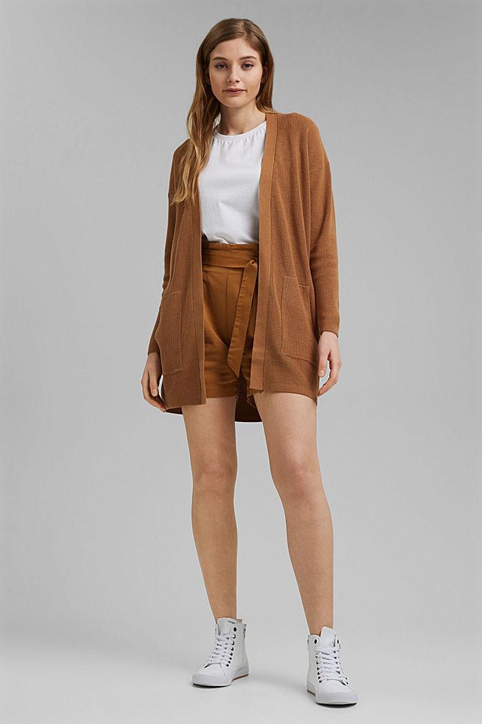 Long cardigan made of 100% organic cotton, CARAMEL, detail image number 1